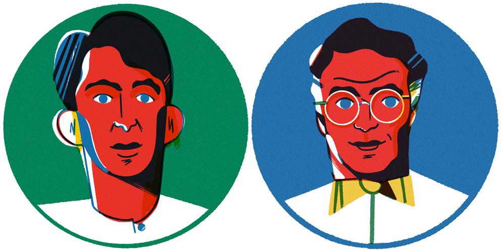 Dois homens ilustrados por Fabrizio Lenci