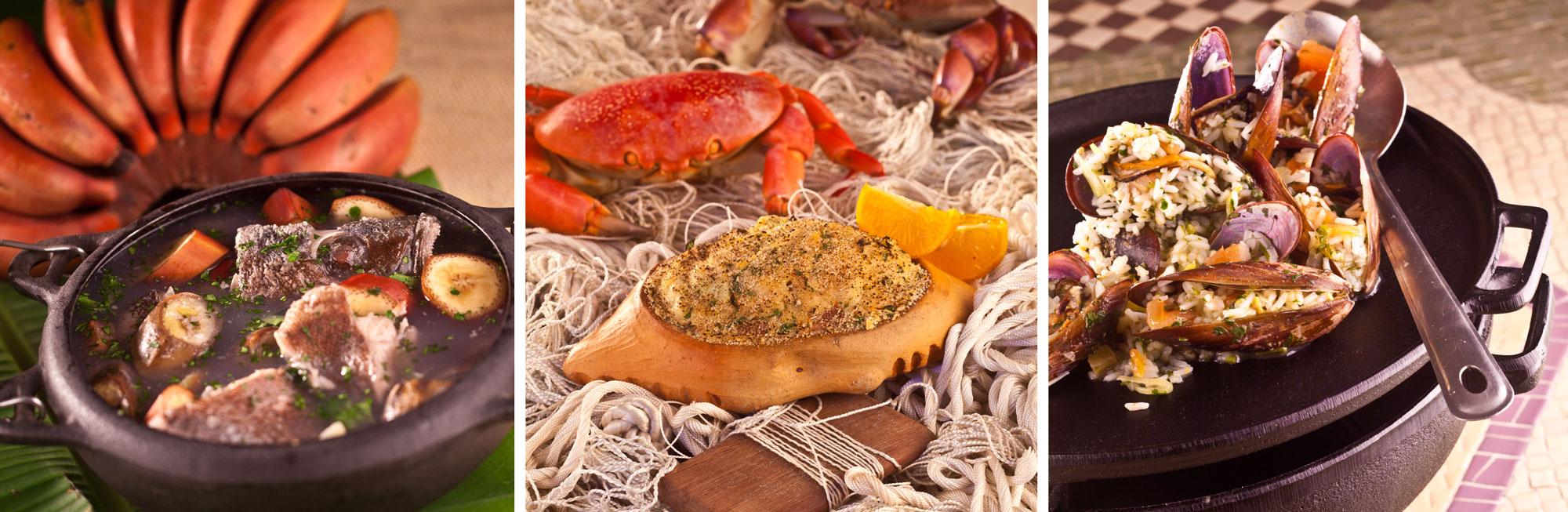 Três pratos do Taioba: garoupa azul marinho, casquinha de caranguejo e arroz lambe lambe de mariscos