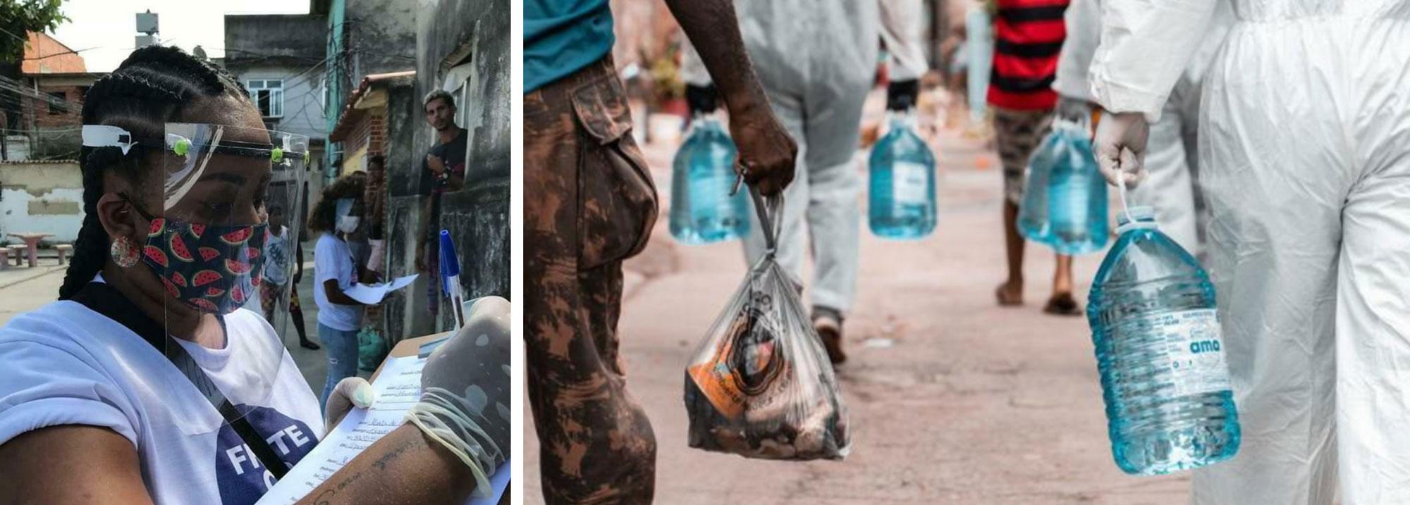 Voluntários cadastram famílias e distribuem itens básicos na Cidade de Deus.