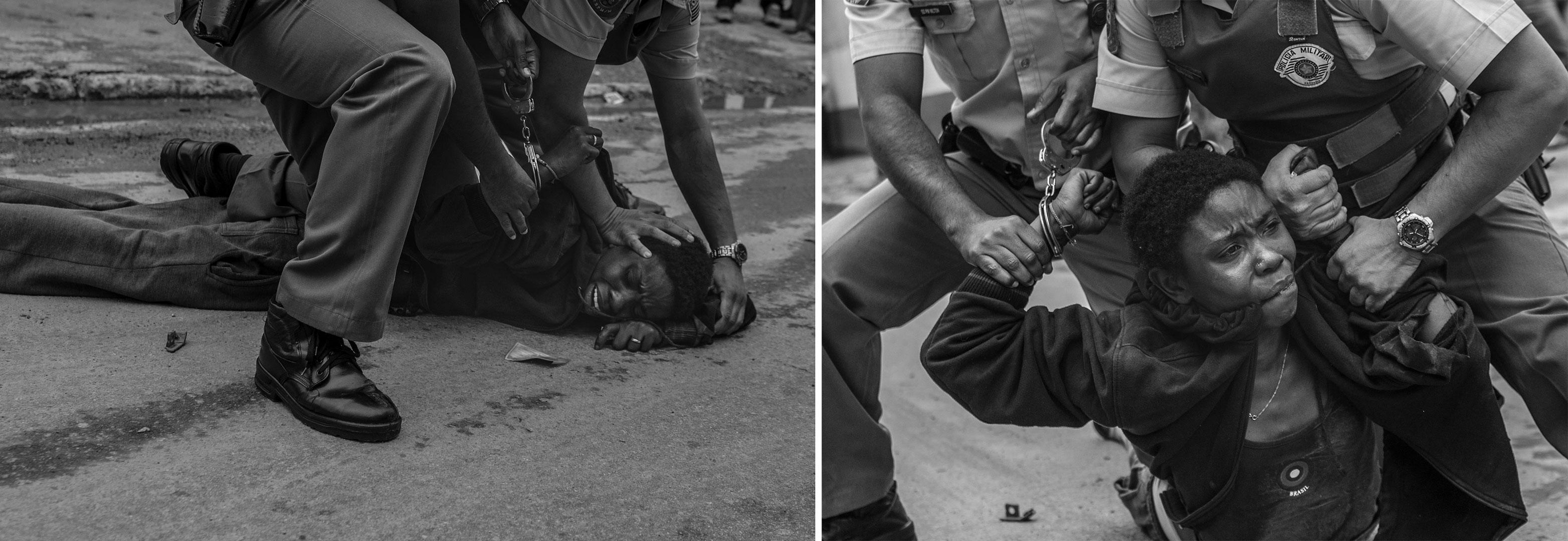 São Paulo, setembro de 2009: dominada a golpes violentos pelos soldados da PM Gilson (de óculos) e Nilton, a mulher que acabara de roubar uma carteira do porteiro Evangelista Oliveira, 48 anos na avenida Manuel Bandeira, é observada por operários que chegaram a dominá-la antes da chegada dos policiais. Os PMs aplicaram socos, chutes e usaram spray de pimenta para segurar a suspeita. O caso foi encaminhado para o 91 DP – CEAGESP.