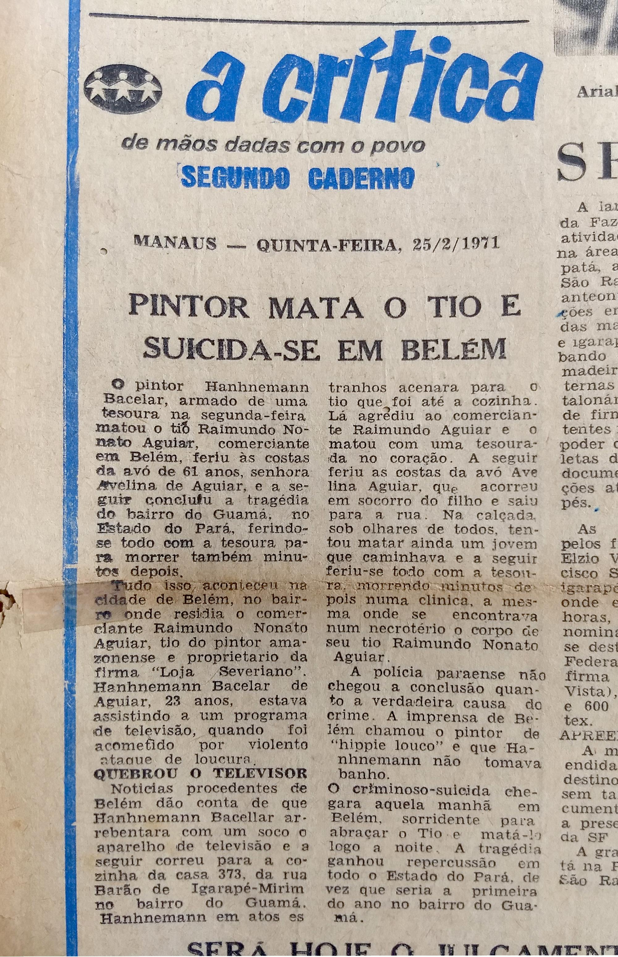 Notícia no A Crítica de Manaus, dias após a tragédia em Belém