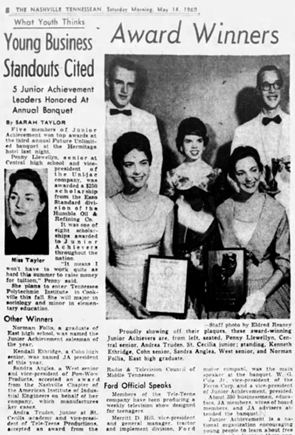 Andrea (abaixo, à direita) vence um concurso adolescente, Nashville Tennesean, 14 de maio de 1960.