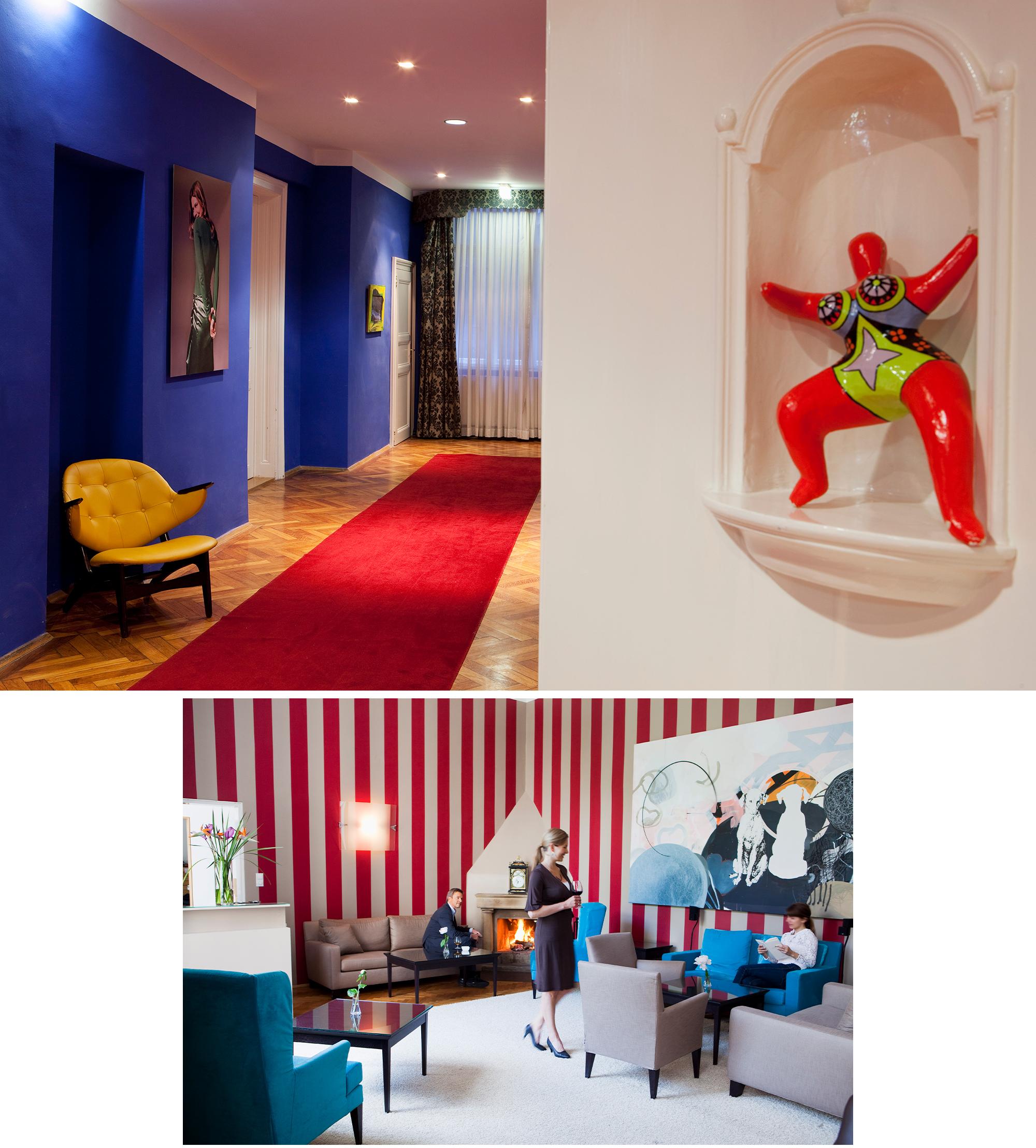 Hotel Altstadt em Vienna, acima: corredor com peça da artista Niki d´Saint Phalle; abaixo: salão com quadro da artista Iris Kohlweiss.