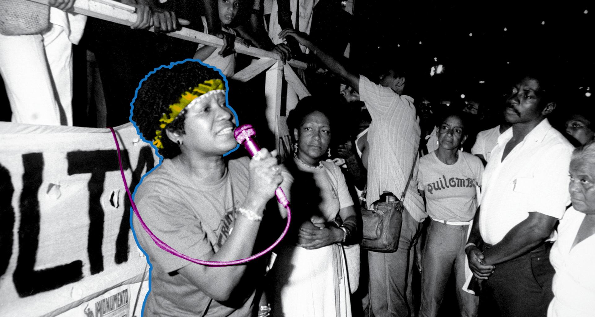 Ato público na Cinelândia, Rio de Janeiro, em 1983. Lélia Gonzalez discursa pelo Movimento Negro Unificado (MNU)