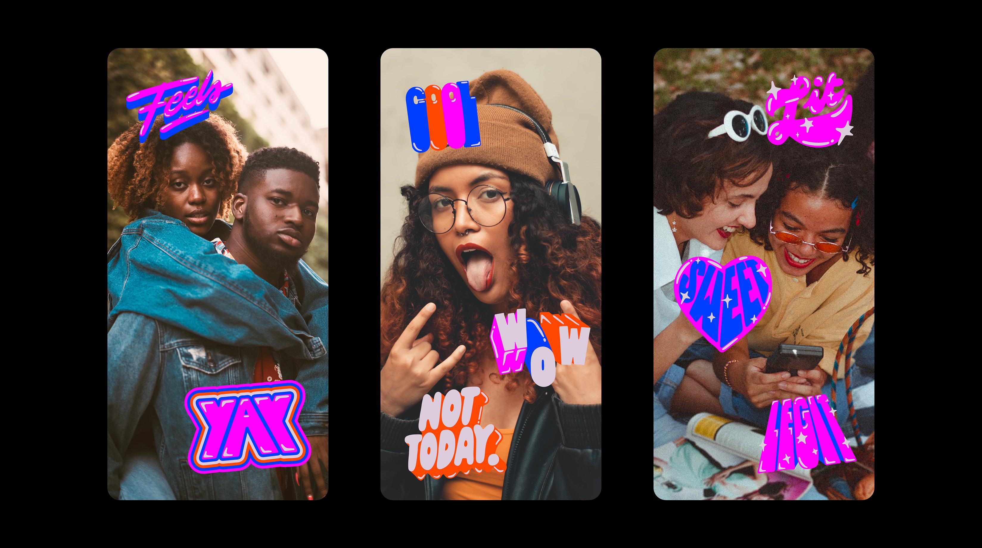 Stickers do stories do Instagram com aplicações de letterings de Lebassis com termos LGBTQIA+ –