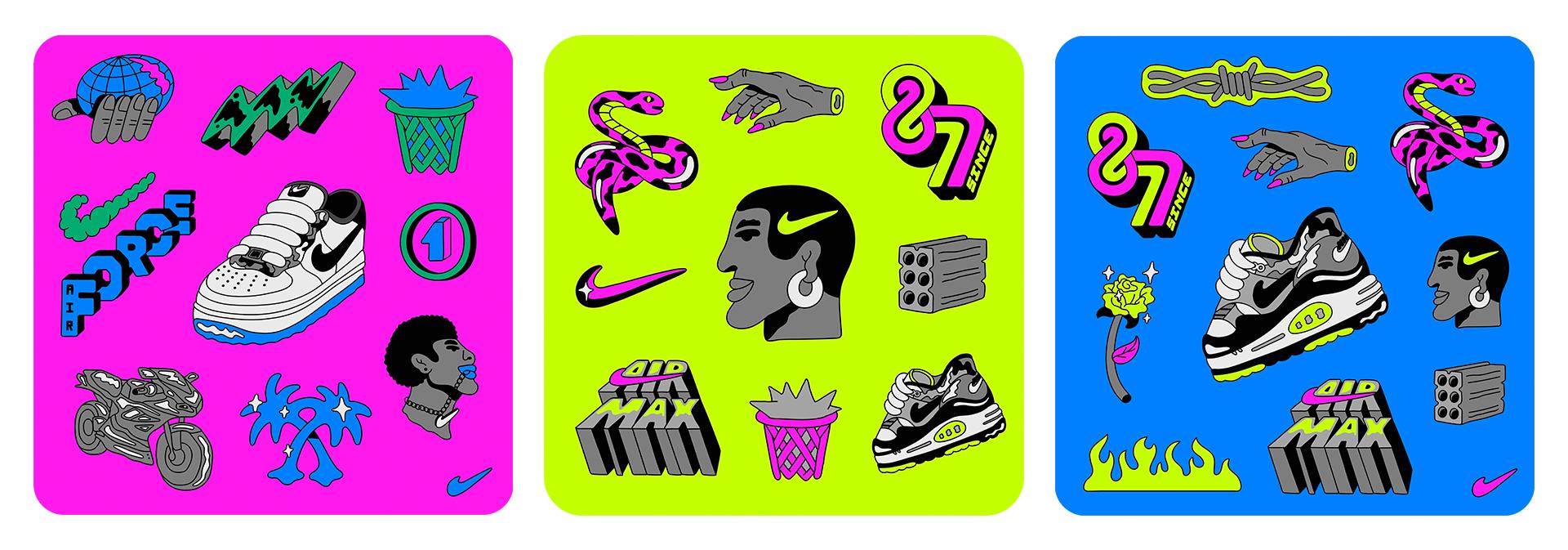 Ilustrações de Leandro sobre o universo sneaker head feitas para a Nike –