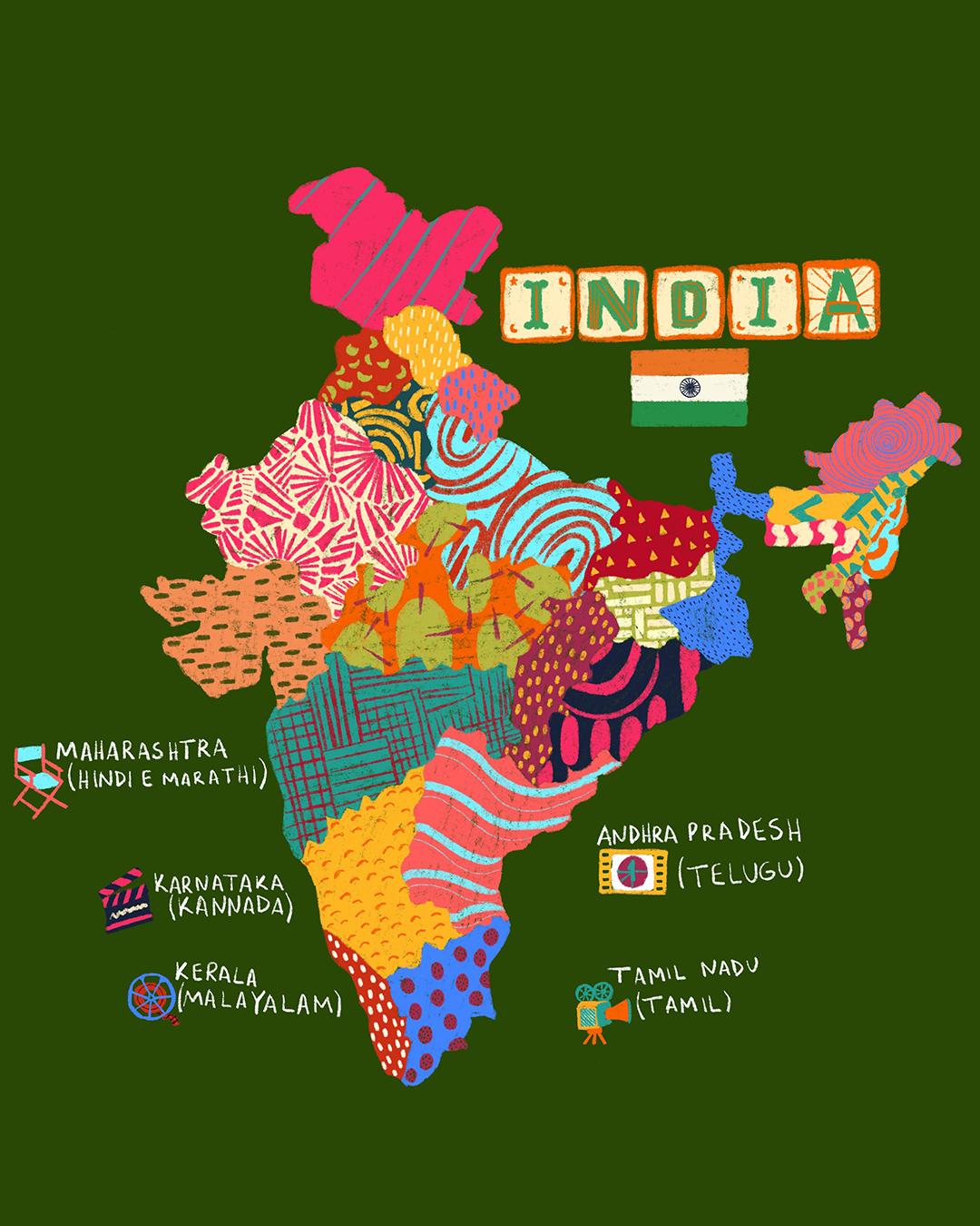 As cinco principais indústrias cinematográficas indianas e onda elas estão localizadas no país –