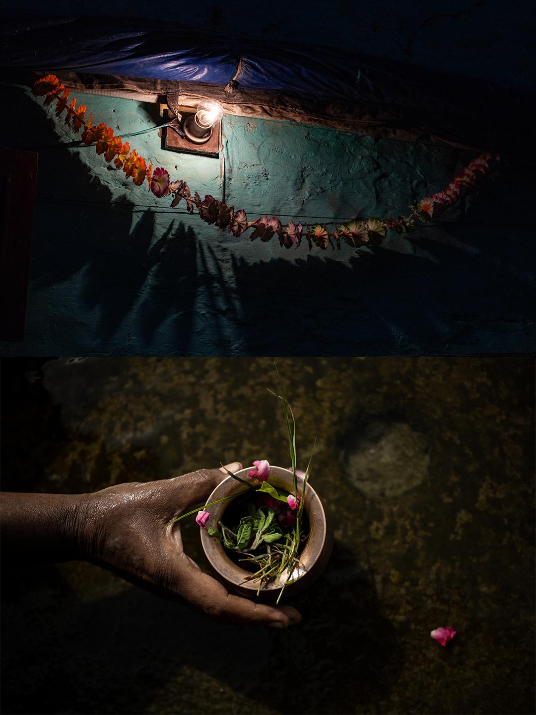As flores são utilizadas em diversos rituais hindus – seja como adereço religioso na parte externa das casas (no topo) ou em oferendas no Rio Ganges