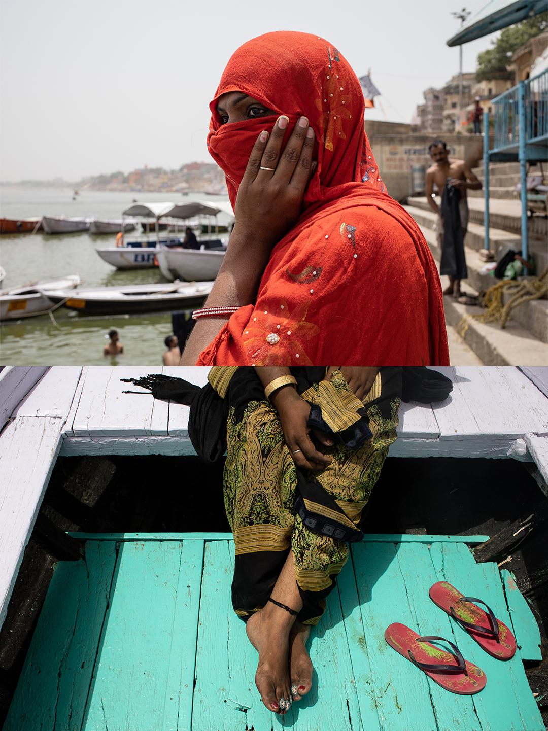 Acima, Rupaa aguarda para subir em um barco no Rio Ganges, em Varanasi. Ela esconde o rosto com um lenço sempre que circula em áreas movimentadas da cidade. Abaixo, detalhes da roupa e adereços de Muskan, típicos da cultura indiana. As Hijras usam Sari como símbolo e afirmação de sua identidade feminina.